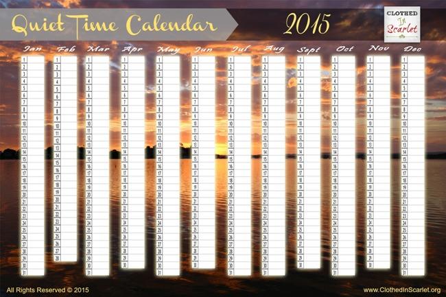 Quiet Time Calendar