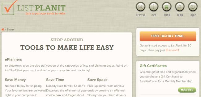 ListPlanIt Online Planner