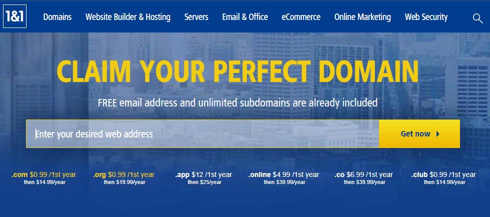 Online Domain Registrar - 1 & 1