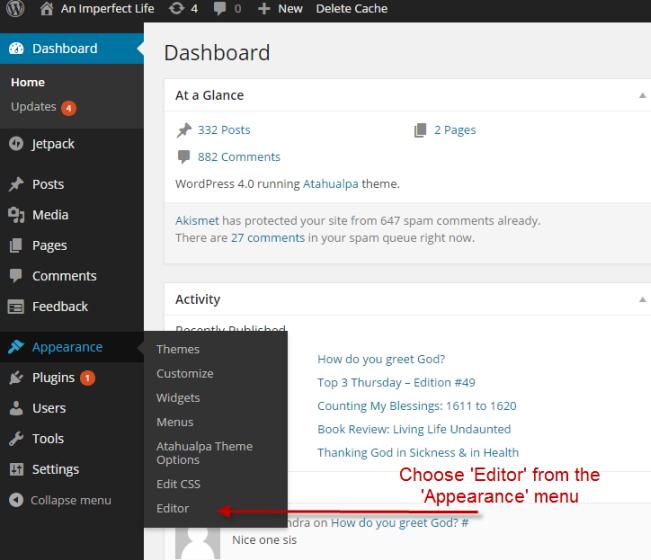 Go to WordPress editor
