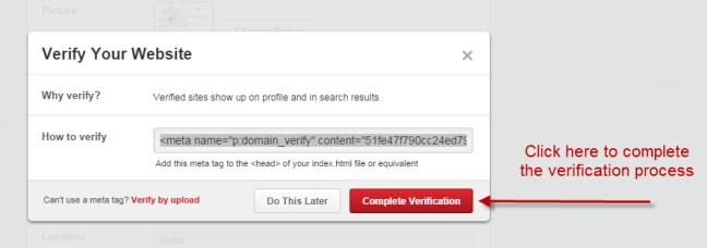 Complete meta tag verification
