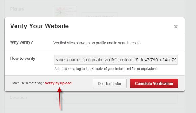 Choose verify by upload