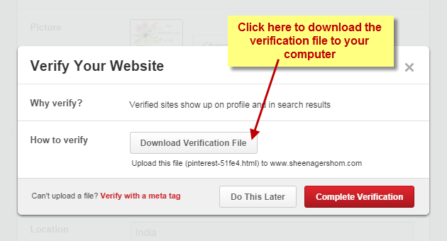 Download verification file