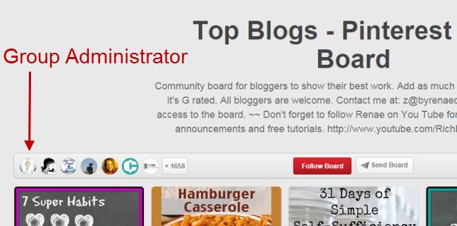 Pinterest group admin
